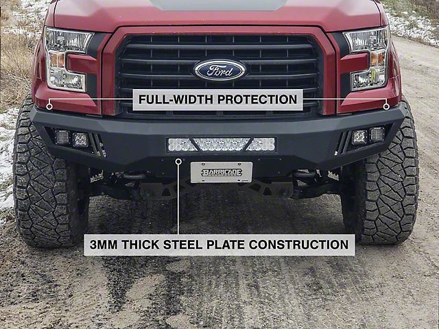 Barricade F 150 Extreme Hd Front Bumper With Led Light Bar Fog And Spot Lights T527989 15 17 F 150 Excluding Raptor Led Light Bars Bumpers Led Fog Lights