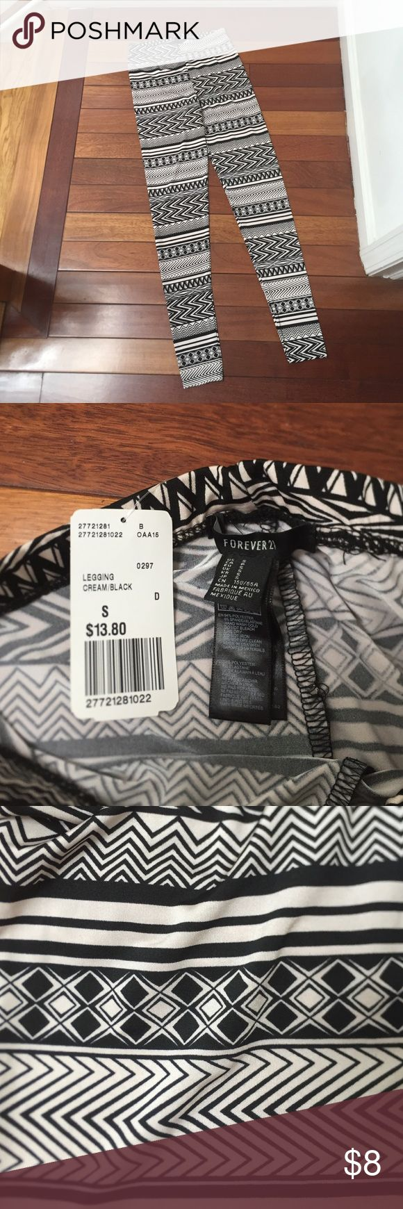 NWT Forever 21 Slinky Tribal Leggings Sz S NWT Forever 21 Slinky Tribal Leggings Sz S. Never worn - really smooth slinky material. Black with off white color. I'm really into printed leggings (I'm also selling a similar pair in cotton material from PINK VS) and have many pairs of them so I'm selling a few I've never worn like this pair or ones I don't wear as much anymore (to make room for more of course!!!) Forever 21 Pants Leggings