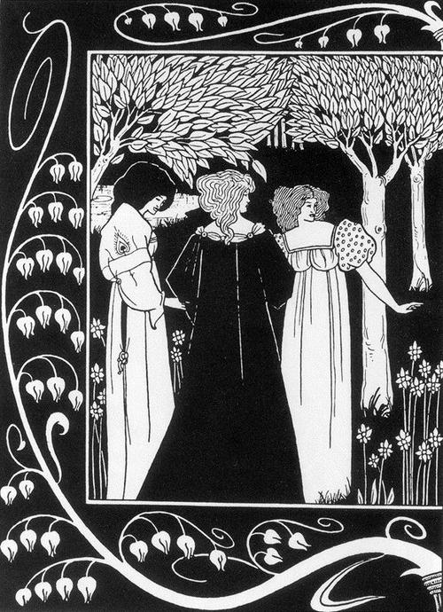 """aubrey beardsley- illustration faite pour """"la mort d'Arthur"""":"""