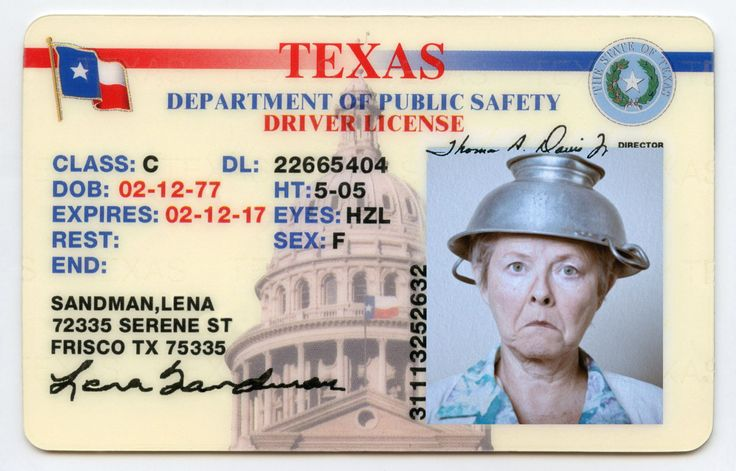 This lady is a Pastafarian, a member of the Church of the Flying Spaghetti Monster. Therefore the colander counts as religious head gear and is allowed in photo ID.