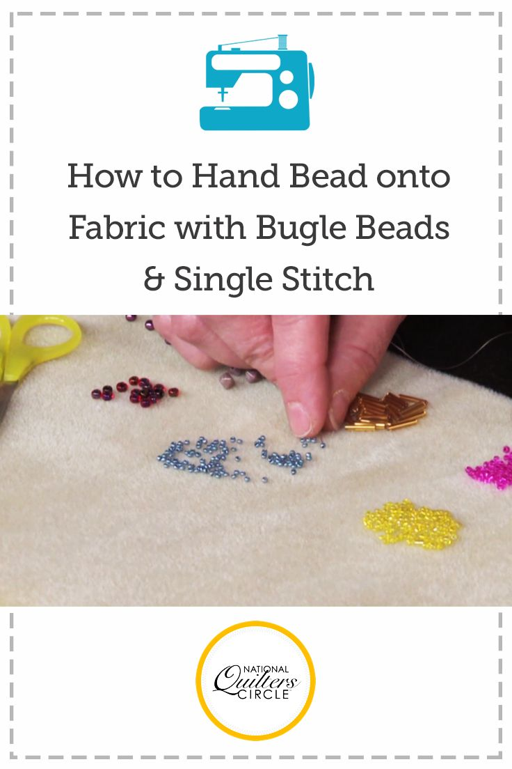 Hand Beading on Fabric with Bugle Beads and Single Stitch