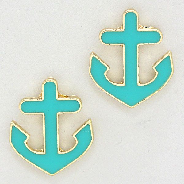 Lacquered Enamel Anchor Stud Post Earrings 226460
