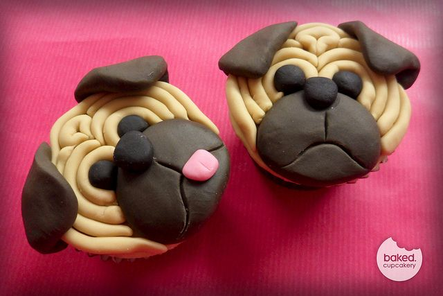Pug Cupcakes - okay, so these are adorable, even if you don't like dogs!
