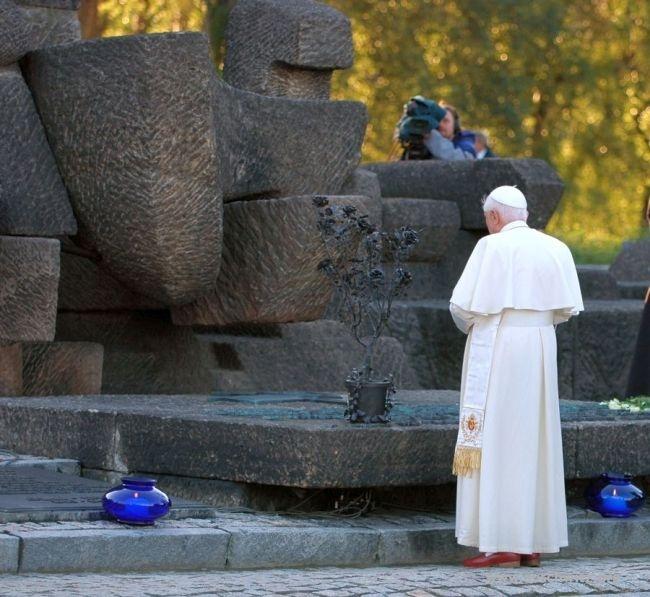 Pope Benedict XVI at the former Auschwitz-Birkenau camp. May 28, 2006.
