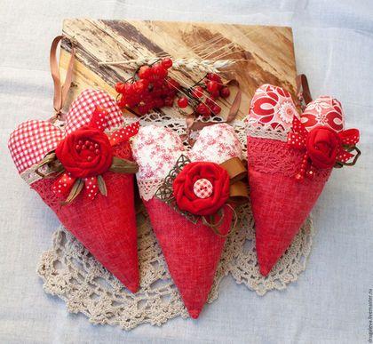 Комплекты аксессуаров ручной работы. Ярмарка Мастеров - ручная работа. Купить Тильда сердечки Красный лен. Handmade. Коралловый, сердечки