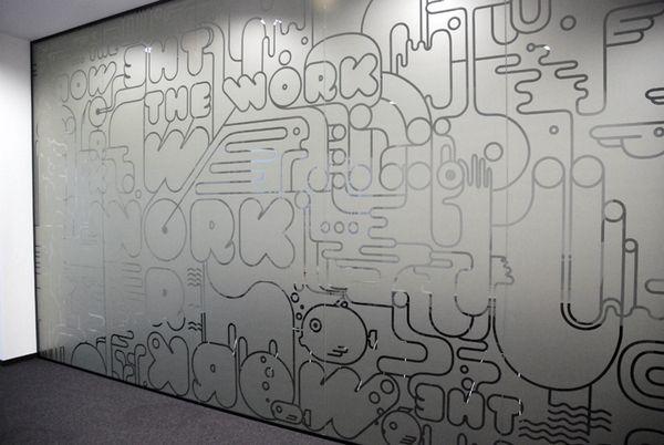 Graffiti BBDO office stickers by Mariya Donchevska, via Behance
