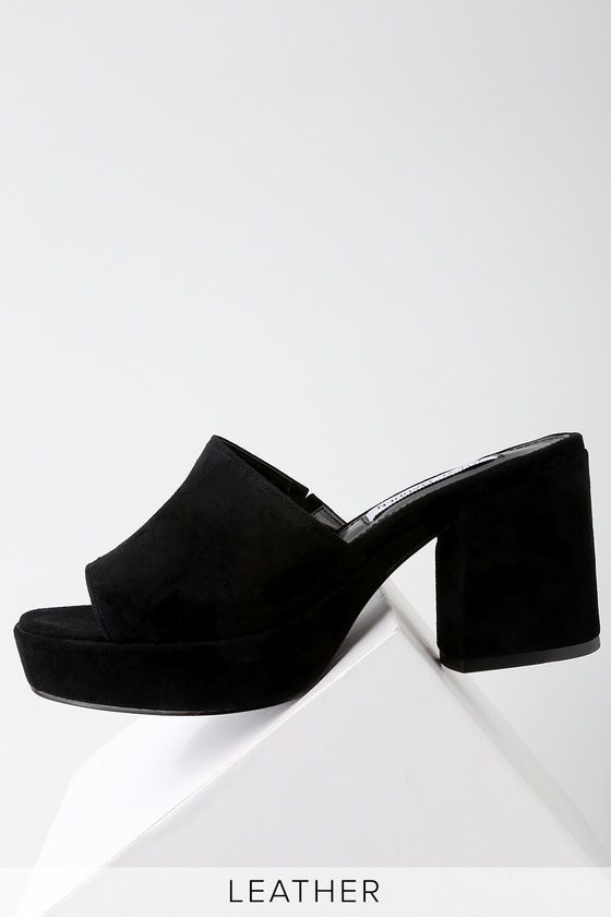 58cc5dd1be3 We need the Steve Madden Relax Black Suede Leather Mules in our lives in a  major way! Genuine suede shapes these chunky mules with a peep-toe upper.