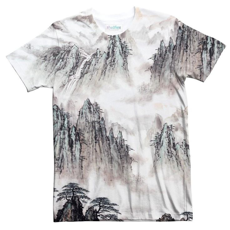 Watercolour Mountains T-Shirt-kite.ly-| All-Over-Print Everywhere - Designed to Make You Smile