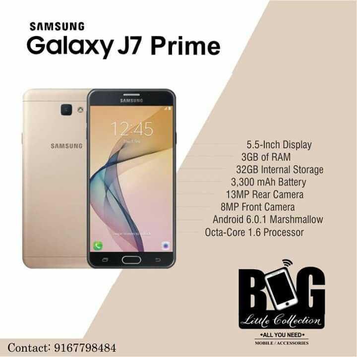 Meet the Samsung Galaxy J7 Prime - the smartphone powered by a 1.6 GHz Exynos 7870 octa-core processor and 3 GB RAM. Its premium metal finish, along with a smooth, curved back,makes this smartphone look and feel elegant  #biglittlecollection #panjim #18JuneRoad #Goa  #Mostpowerful #smartestphone #smartphone  #BestStoreInGoa #AndriodPhones #Samsung #Vivo #Gionee #iphone