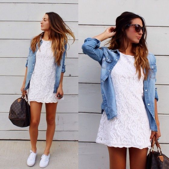Warmer days look great in a lace short sleeve mini, denim shirt, black tote, & white Adidas Superstars