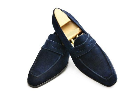 bbadd32161349 Handmade Men,s Original Navy Blue Suede Loafers Slip Ons Shoes for Men's -  Dress/Formal