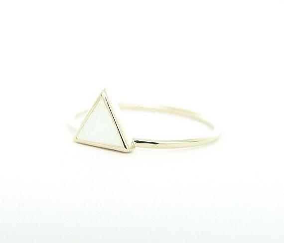 Dreieck-Mutter der Perle Ring geometrische Ring 14k von FRomaG