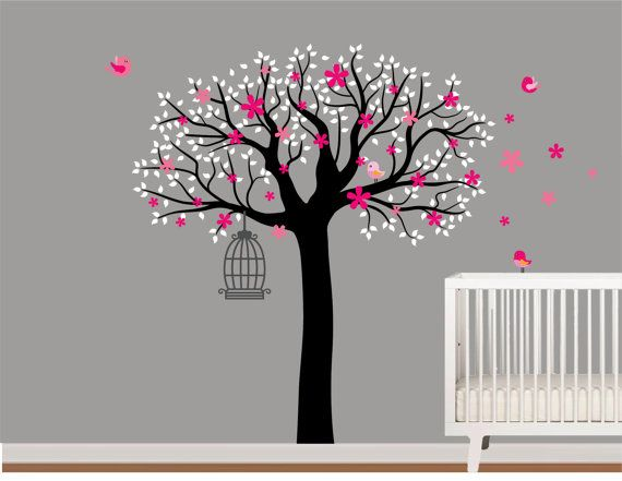 Vinyl Wall Decal Stickers Tree with Birds and by NurseryWallArt, $99.99
