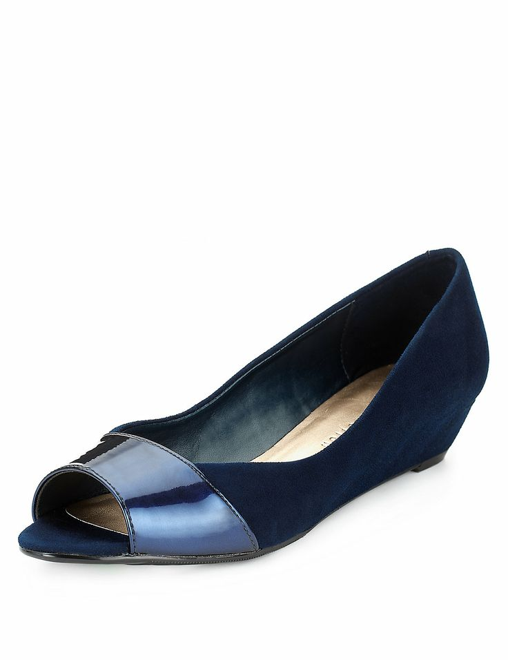 Faux Suede Peep Toe Wedge Shoes with Insolia® | M&S