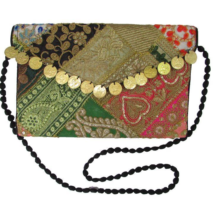 Embroidered Handbag Boho Clutch Tablet Case Indian Handmade Bag w/ Strap