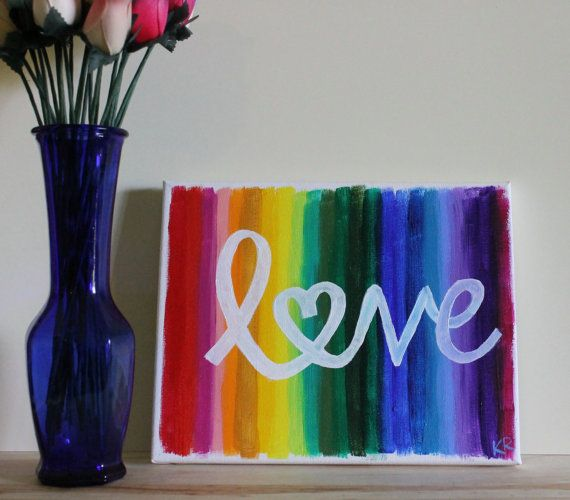 love is love is love is love rainbow love gay pride lgbt lgbtq acrylic painting canvas art