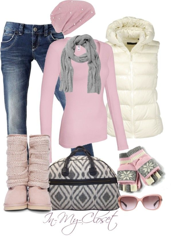 Pink Top, Hat & Knit Boots.  White Puffy Vest.  Gray Scarf.  Black & Gray Print Purse.  Blue Jeans.