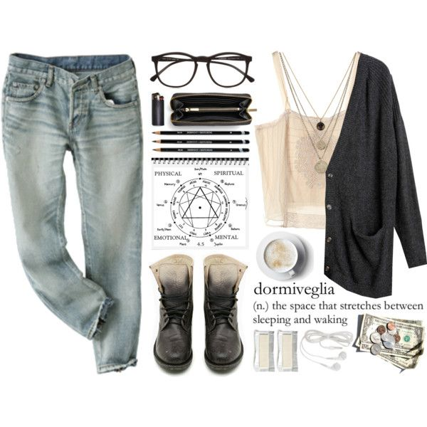 Fall outfit   Cute teen fashion  jeans and cardigan