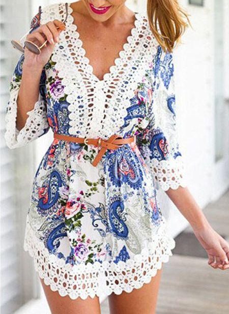 V Neck Contrast Lace Paisley Print Dress