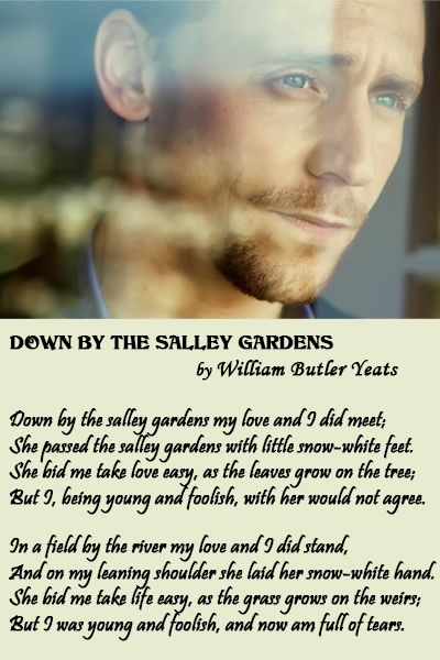 "Tom Hiddleston's Voice. Tom Hiddleston reads ""Down by the salley gardens"" by William Butler Yeats (1889) with Irish accent. Audio: https://www.youtube.com/watch?v=uiWZzlOYJpw"
