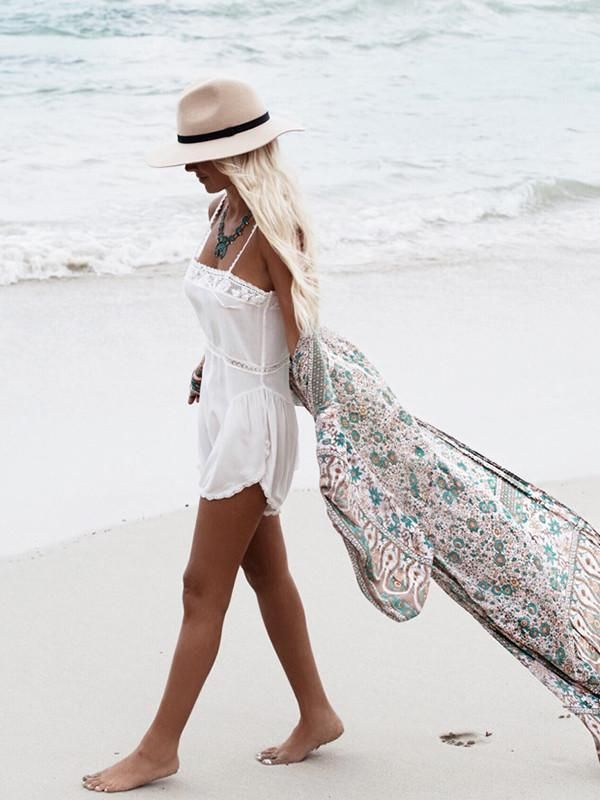 cc089cc5c8 Green Floral Print Chiffon Bohemia Beach Long Cardigan Tops in 2019 ...