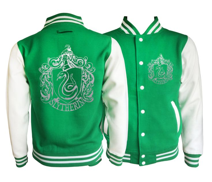 Vintage style Harry potter Inspired Slytherin House varsity jacket with silver emblem in front and back.  Amazing! by iganiDesign on Etsy