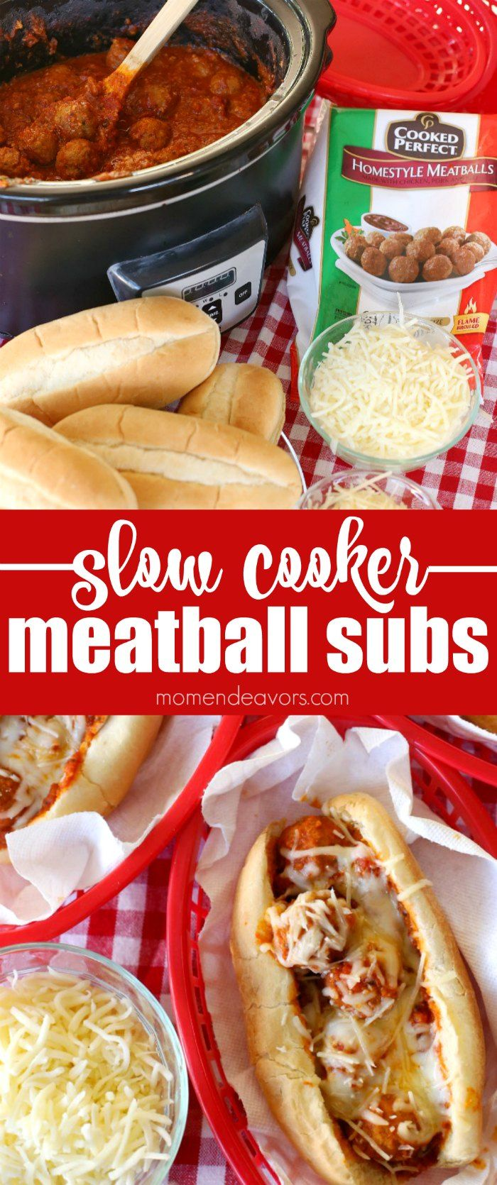 Slow Cooker Meatball Subs - this tasty & hearty dish is easy to make in the crock pot without heating up the whole house! @CookedPerfect AD