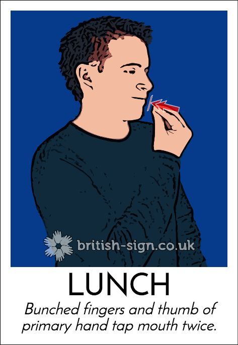 The BSL sign for Lunch.