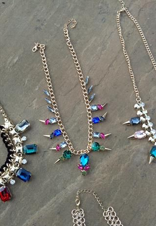 Jewel Spike Statement Necklace