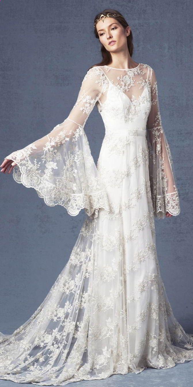38 Breath-taking Bell Sleeve Wedding Dresses We Love