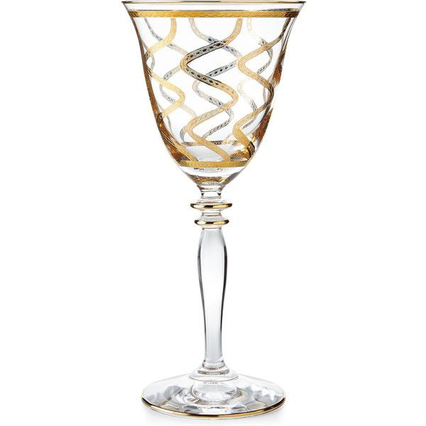 Vietri Elegant Swirl Wine Glass (2,425 THB) ❤ liked on Polyvore featuring home, kitchen & dining, drinkware, medium gold, gold wine glass, vietri, swirl wine glass, gold wine glasses and swirl wine glasses