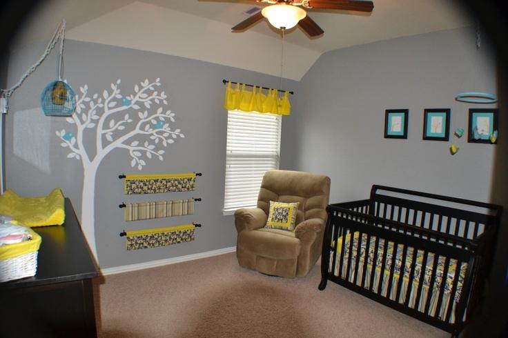 Yellow, gray, and blue bird nursery