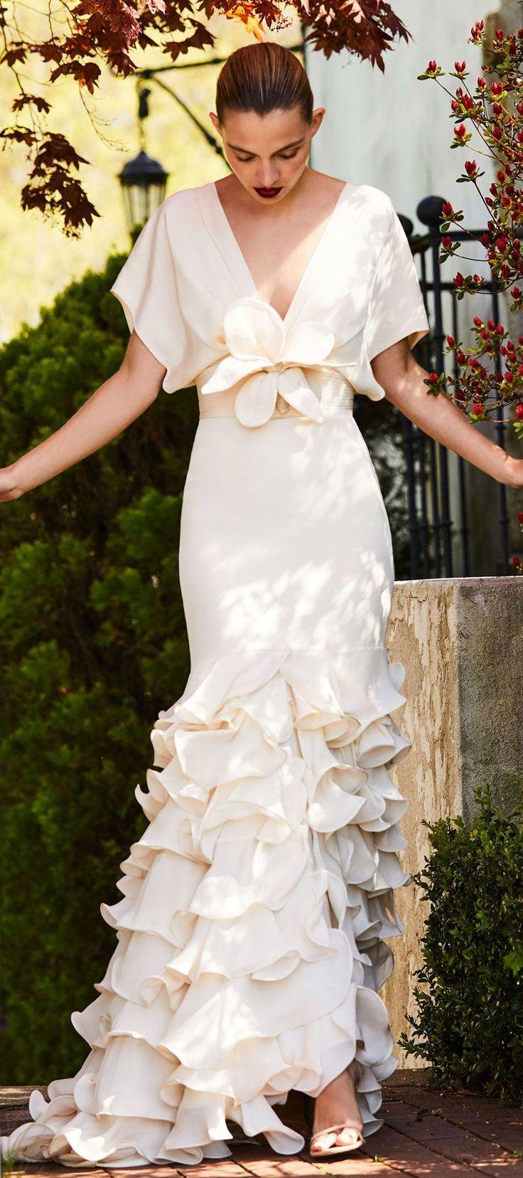self tie flower belt, a plunging neckline short sleeves Tiered ruffle mermaid wedding dress #wedding #weddinggown #bridedress