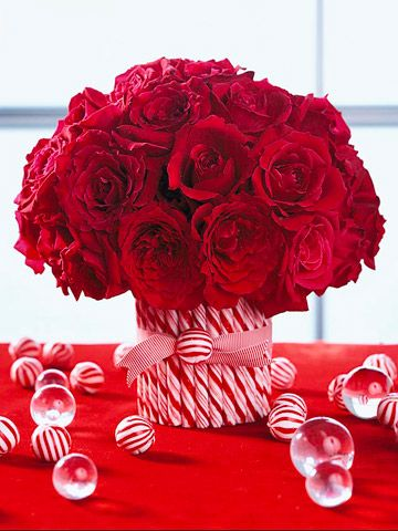 Sweeten your Christmas decorating by incorporating holiday candies into centerpieces and arrangements.