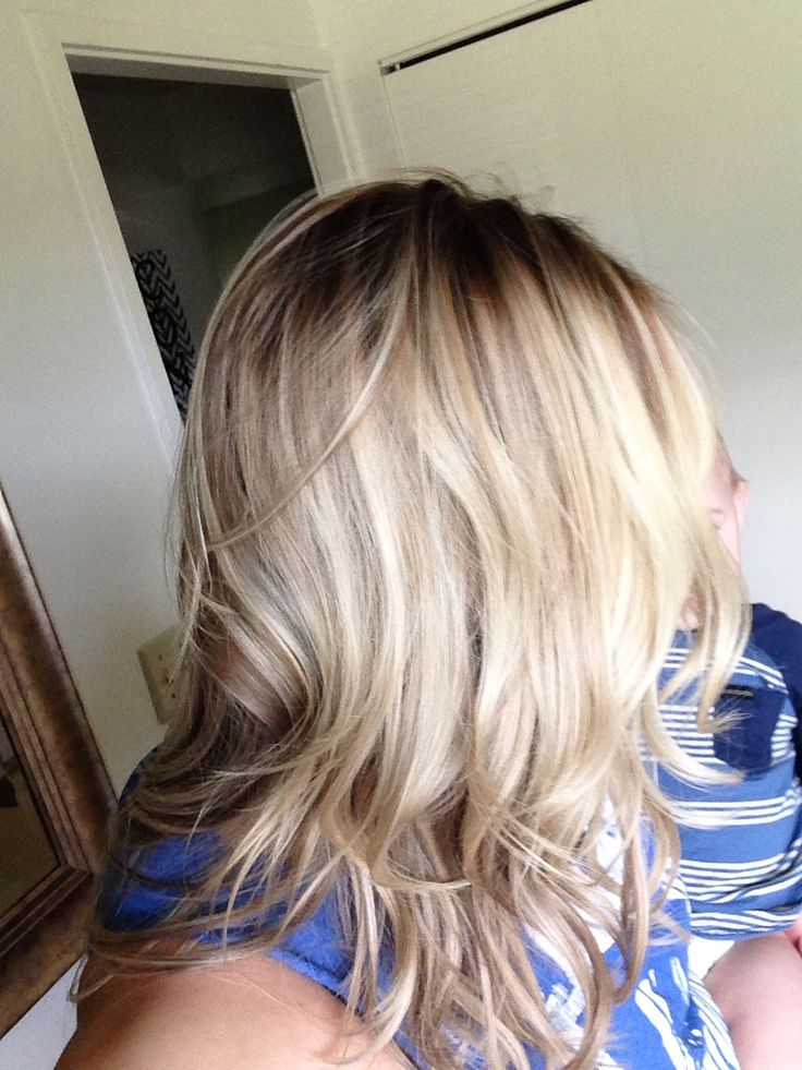 Pretty ash blonde brown lowlights color hair