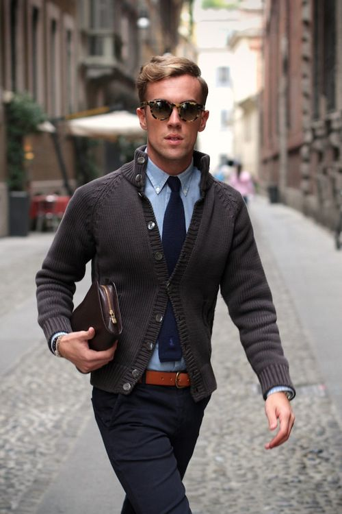 Gray Banded Collar Cardigan, Blue Buttondown Shirt, Navy Tie, and Navy Chinos.  Men's Fall Winter Street Style Fashion.