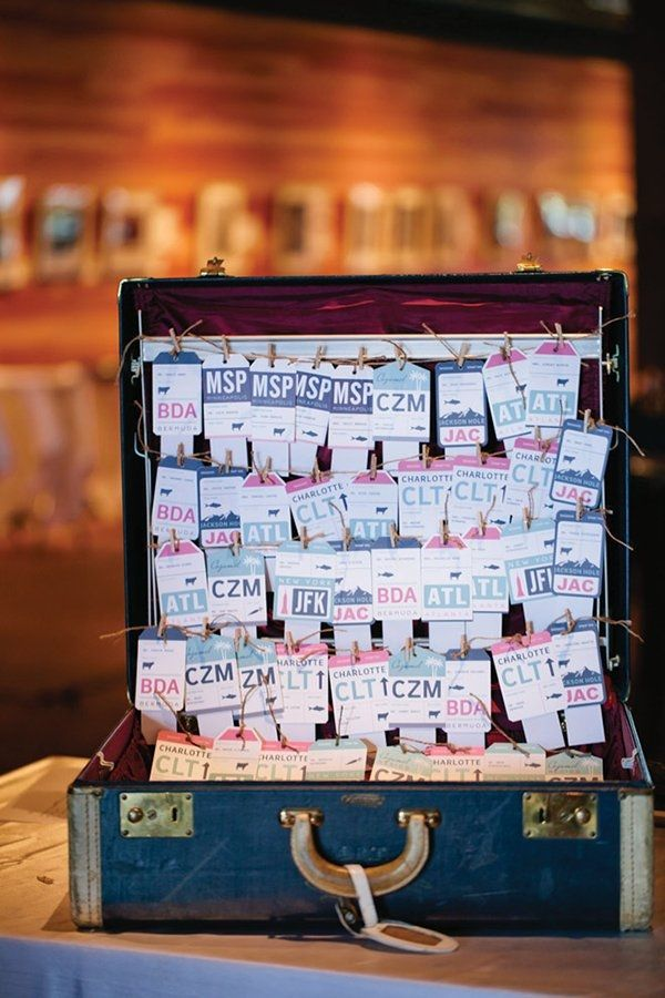 destination wedding seating chart using vintage suitcase and luggage tag escort cards