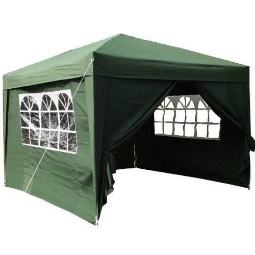 NEW POP UP GAZEBO GREEN STEEL FRAME GARDEN FURNITURE FAIR SLOPE FREE UK DELIVERY