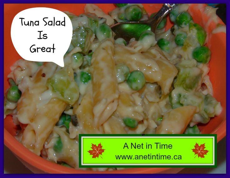 A good recipe for Tuna Salad.  http://www.anetintime.ca/2017/04/recipe-tuna-noodle-salad.html