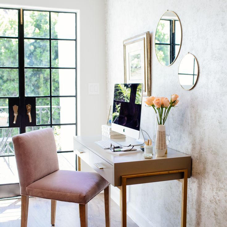 Homeoffice Perfection By Tiffanithiessen With The Help From Restylesource Removablewallpaper Office With A View Room Transformation Metallic Wallpaper