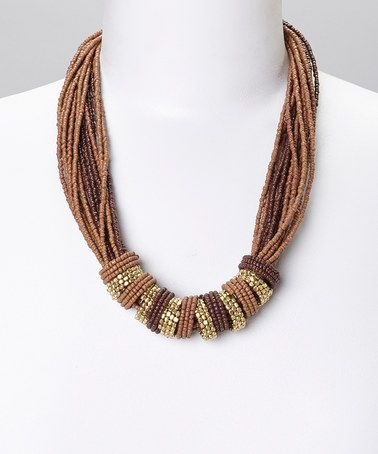 This Gold & Brown Gem Beaded Multistrand Necklace is perfect! #zulilyfinds