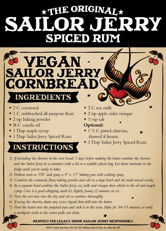 Wait... WHAT?! #Vegan Sailor Jerry Cornbread! I have to try this ;)