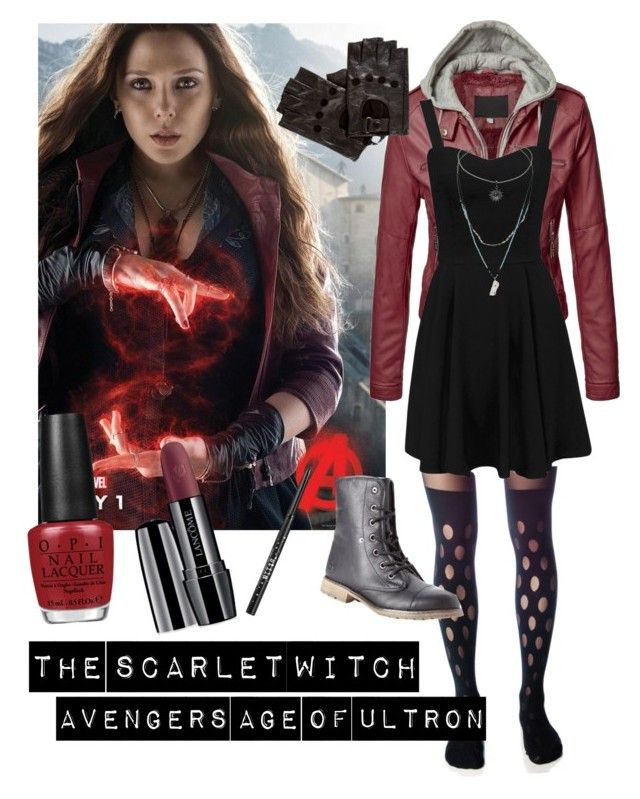 Scarlet witch by brianna-harper-22 on Polyvore featuring polyvore fashion style House of Holland Dirty Laundry Topshop Lancôme Stila OPI clothing