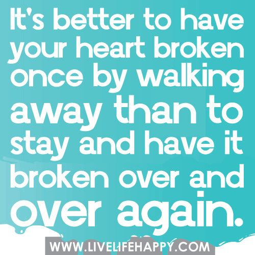 ❤ I certainly learned this the hard way. Stayed after the first time. It hurt twice as much the second time, but I still stayed. The third time nearly destroyed me, but then it taught me... that I am much better off alone than with someone who could intentionally cause me so much pain. There is light on the other side.