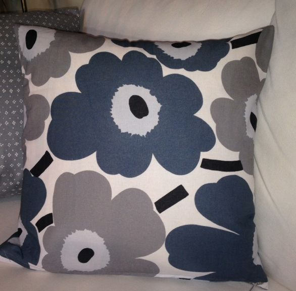 Handmade Pillow case made, Marimekko Gray White Pi…