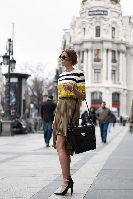 original but classy outfit: tail hem skirt,stripped jumper,satchel and bircolor high heels