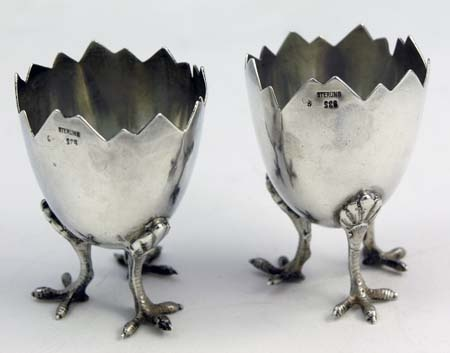 Egg Shaped Sterling Silver Salt Dishes Circa 1890 or Egg Cups... I like the idea of a soft boiled from them.