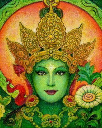 Green Tara Buddha poster spiritual art by HalstenbergStudio