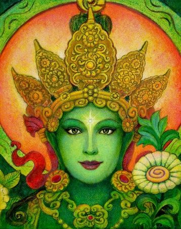Affiche Green Tara Buddha spirituelle art la par HalstenbergStudio