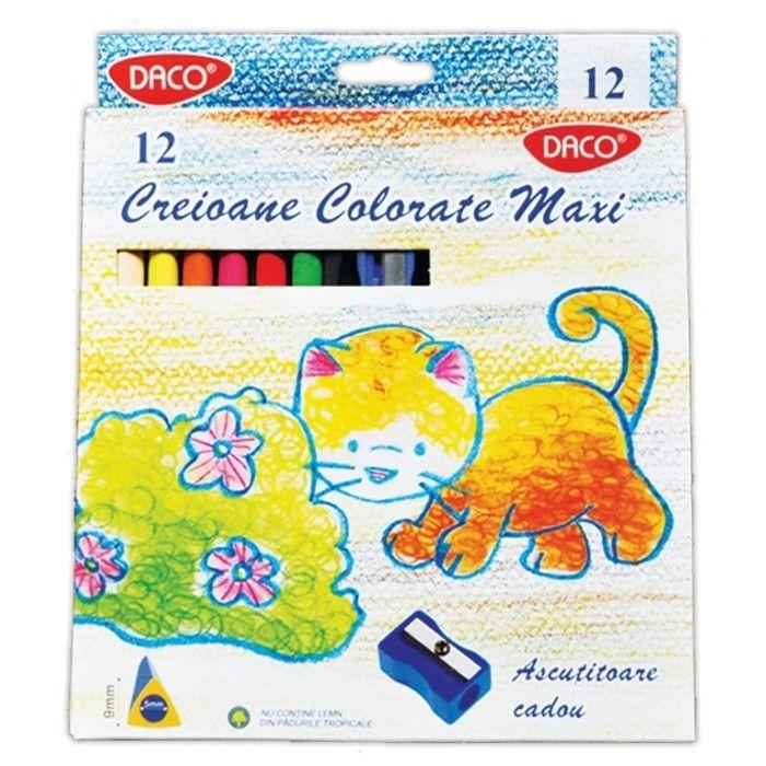 Creioane colorate, 12 buc/set, Daco Maxi - Creioane colorate - Articole pentru scoala - Rechizite
